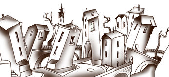 Dansing street. Not urban and small street of city royalty free illustration