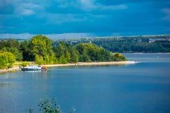 danska ölakes landscape litet tidvattens- wild wadden för naturhavet vatten FlodBerden, Novosibirsk oblast, Sibirien Arkivbilder