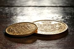 Danska guld- mynt Arkivbilder
