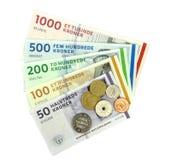 Danska kroner (DKK), mynt och sedlar. Fotografering för Bildbyråer