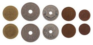 Danska mynt som isoleras på White Fotografering för Bildbyråer