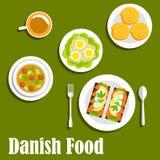 Danska nationella kokkonstdisk och smörgåsar royaltyfri illustrationer