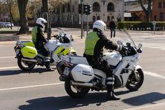 Danska polismotorcyklar Arkivbilder