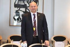 DANSKA VÄRDAR FÖR RÄTTVISA MINISTER_ SOREN PEPE POULSEN arkivfoton