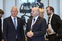 DANSKA VÄRDAR FÖR RÄTTVISA MINISTER_ SOREN PEPE POULSEN royaltyfria bilder