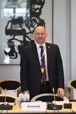 DANSKA VÄRDAR FÖR RÄTTVISA MINISTER_ SOREN PEPE POULSEN royaltyfri bild