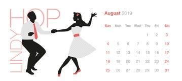 2019 Danskalender August Young-paar die retro kleren dansende Lindy Hop dragen stock illustratie