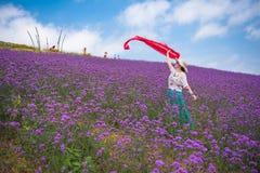 Danskvinna i lavendelnöjesfält Arkivfoto