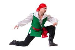 Dansman som bär en piratkopieradräkt Isolerat på Arkivbild
