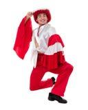 Dansman som bär en toreadordräkt bakgrund isolerad white Arkivbilder
