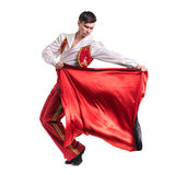 Dansman som bär en toreadordräkt isolerat Arkivfoton