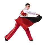 Dansman som bär en toreadordräkt isolerat Arkivbild