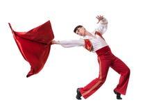 Dansman som bär en toreadordräkt isolerat Royaltyfri Foto