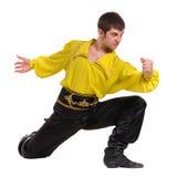 Dansman som bär en toreadordräkt Isolerat på den vita oavkortade längden Royaltyfri Fotografi