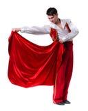 Dansman som bär en toreadordräkt Isolerat på den vita oavkortade längden Arkivbilder