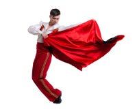 Dansman som bär en toreadordräkt Isolerat på den vita oavkortade längden Royaltyfria Bilder