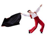 Dansman som bär en toreadordräkt Isolerat på den vita oavkortade längden Arkivbild