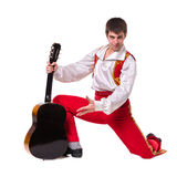 Dansman som bär en toreadordräkt med gitarren Arkivbilder