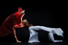 Dansshow Böjliga och plast- flickor Balettshow arkivbild