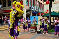 Dansskådespelartruppen utför den kinesiska lejondansen, Singapore Arkivfoto