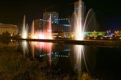 Dansspringbrunnar på Ardagani sjön Batumi georgia Arkivfoto