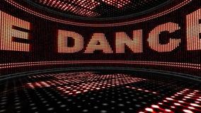 DANStext i bildskärm och diskot hyr rum animeringen, tolkningen, öglan, 4k stock video