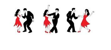 Dansuppsättning - illustration av dansare i svart och rött vektor illustrationer