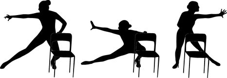 Dansvrouw met de vector van het stoelsilhouet Stock Foto