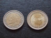 Dante Alighieri και νομίσματα του Giovanni Boccaccio ΕΥΡ Στοκ Εικόνες