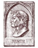 Dante Alighieri. Element for architecture, design on building for tattoo or t-shirt design. Symbol of science. Psychology. Genius and creator of universe Royalty Free Stock Photography