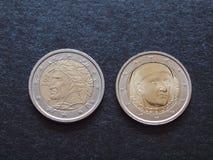 Dante Alighieri and Giovanni Boccaccio EUR coins Royalty Free Stock Image