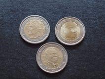 Dante Alighieri, Giovanni Boccaccio and Giovanni Paascoli EUR coins Stock Photography