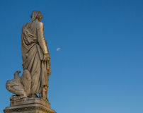 Dante Alighieri inspired by the moon in the early morning Stock Photography