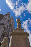 Dante Alighieri monument in front of a Santa Croce basilica and square in Florence Stock Photography