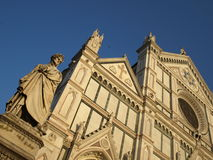 Dante Alighieri and Santa Croce church Stock Photo