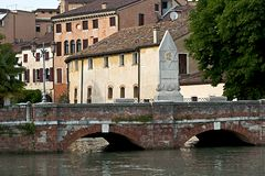 The Dante Alighieri Bridge in Treviso, Veneto district. italy royalty free stock photos