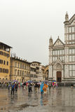 Dante statue in front of Basilica di Santa Croce in Florence, It stock photography