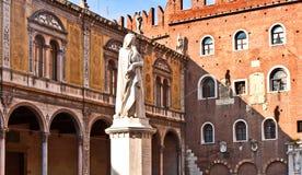 Dante statue in Piazza Signori in Verona Stock Photos