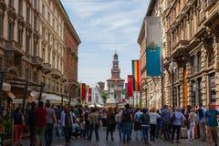 Dante ulica Mediolan Zdjęcia Royalty Free