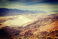 Dantes View Death Valley. Bad Water Basin from Dante's View, Death Valley National Park, with an instagram filter Stock Photos