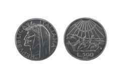 dantesilver för 2 mynt Arkivfoto