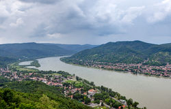 Danube bend, Hungary. Bend in the Danube River near Esztergom, Hungary stock image