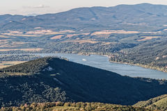 The Danube Bend in Hungary. A scenic view of the Danube Bend from the summit of Dobogoko royalty free stock image