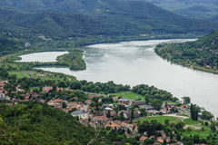 Danube bend. The bend of the Danube River. View from Visegrad, Hungary royalty free stock images