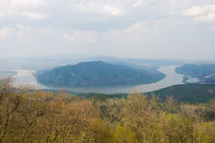 Danube bend in sprint near to Visegrad, Hungary. Stock Images