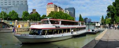 Danube boat in Vienna panorama Stock Images