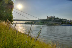 Danube and Bratislava castle Stock Images