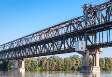 Danube Bridge known as the Friendship Bridge. Truss bridge over the Danube River connecting Bulgarian and Romanian banks between Ruse and Giurgiu cities Royalty Free Stock Photos