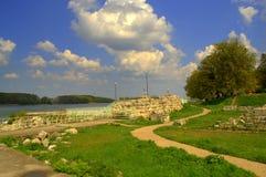 Danube brzeg rzeki rujnuje Silistra Bułgaria Obrazy Stock