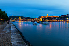 Danube in Budapest by night Stock Photography